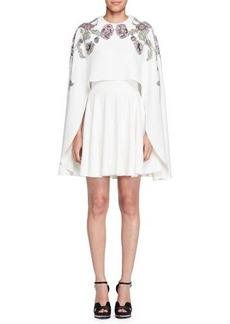 Alexander McQueen Embroidered-Cape A-Line Dress