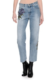 Alexander McQueen Embroidered Denim Ankle Jeans