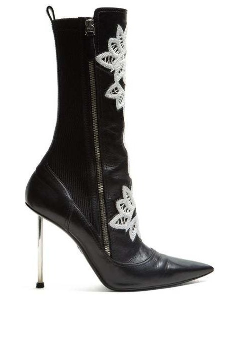 Alexander McQueen Embroidered leather ankle boots