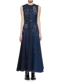 Alexander McQueen Embroidered Mixed-Denim Midi Dress