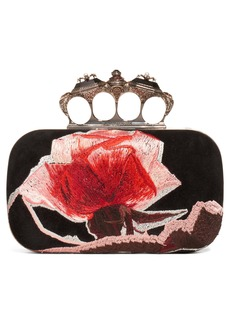 Alexander McQueen Embroidered Roses Knuckle Box Clutch
