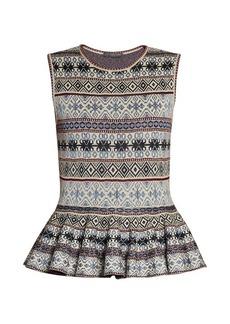 Alexander McQueen Fair Isle-jacquard peplum-hem dress