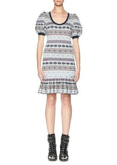 Alexander McQueen Fair Isle Puffy-Sleeve Flounce Dress