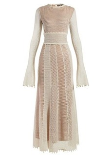 Alexander McQueen Faux-pearl trimmed macramé-lace gown