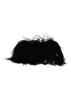 Alexander McQueen Feather-Embellished Knuckle Clutch Bag
