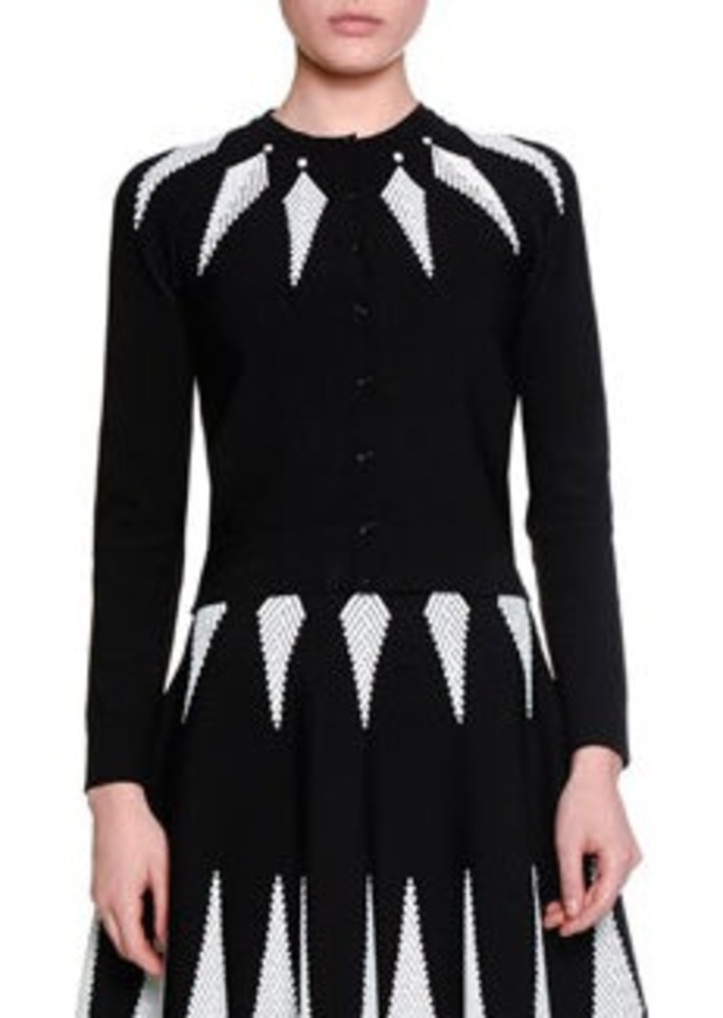 Alexander McQueen Feather Jacquard Cardigan
