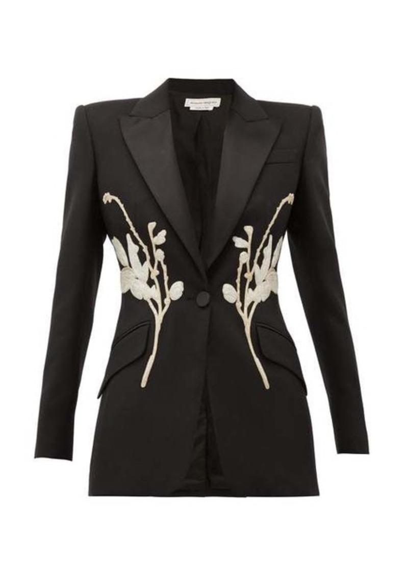 Alexander McQueen Floral-beaded satin-lapel wool-blend blazer