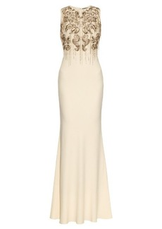 Alexander McQueen Floral chain-embellished crepe gown