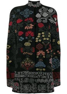 Alexander McQueen Floral Cross Stitch wool knit cape - Black