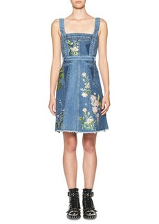 Alexander McQueen Floral-Embroidered Denim Dress