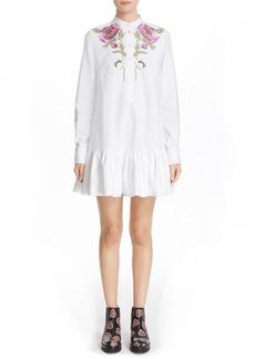 Alexander McQueen Floral Embroidered Ruffle Hem Dress