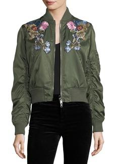 Alexander McQueen Floral-Embroidered Satin Bomber Jacket