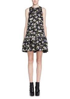 Alexander McQueen Floral Fil Coupe Drop-Waist Dress