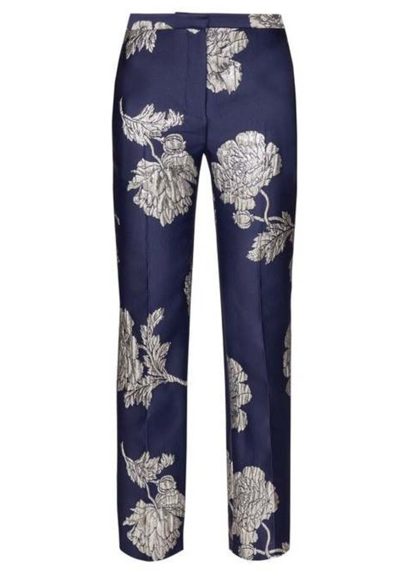 Alexander McQueen Floral-jacquard straight-leg trousers