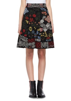 Alexander McQueen Floral Needlepoint Pleated Skirt