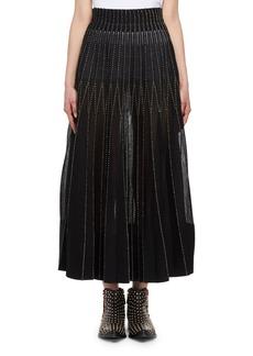 Alexander McQueen Floral Needlepoint Pleated Skirt