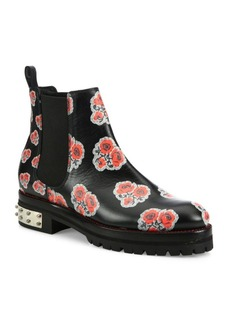 Alexander McQueen Floral-Print Leather Chelsea Booties