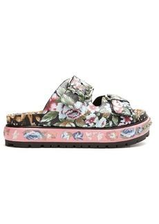 Alexander McQueen Floral-print leather flatform sandals