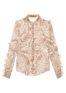 Alexander McQueen Floral-print ruffled silk blouse