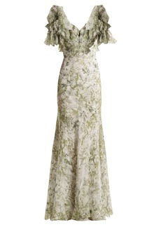Alexander McQueen Floral-print silk gown