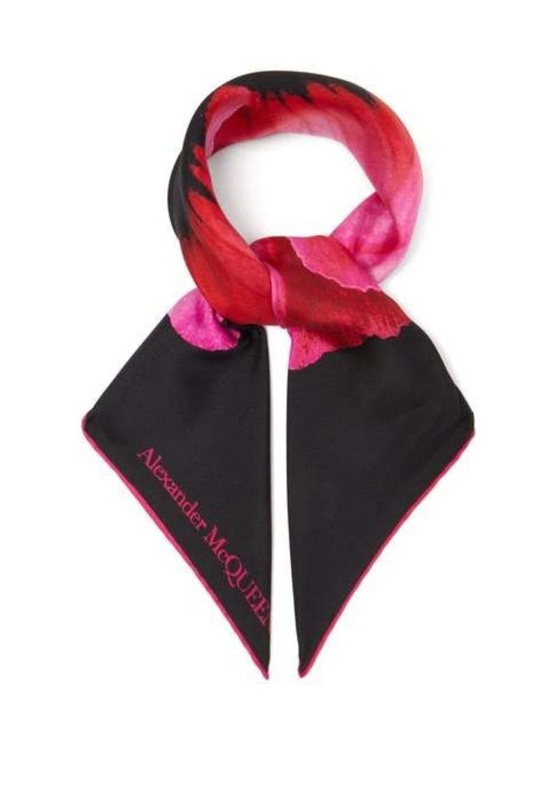 Alexander McQueen Floral-print silk-faille scarf