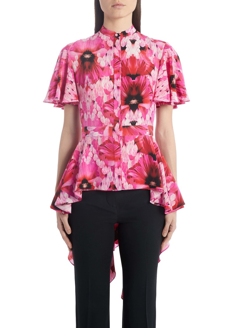 Alexander McQueen Floral Silk High/Low Peplum Blouse