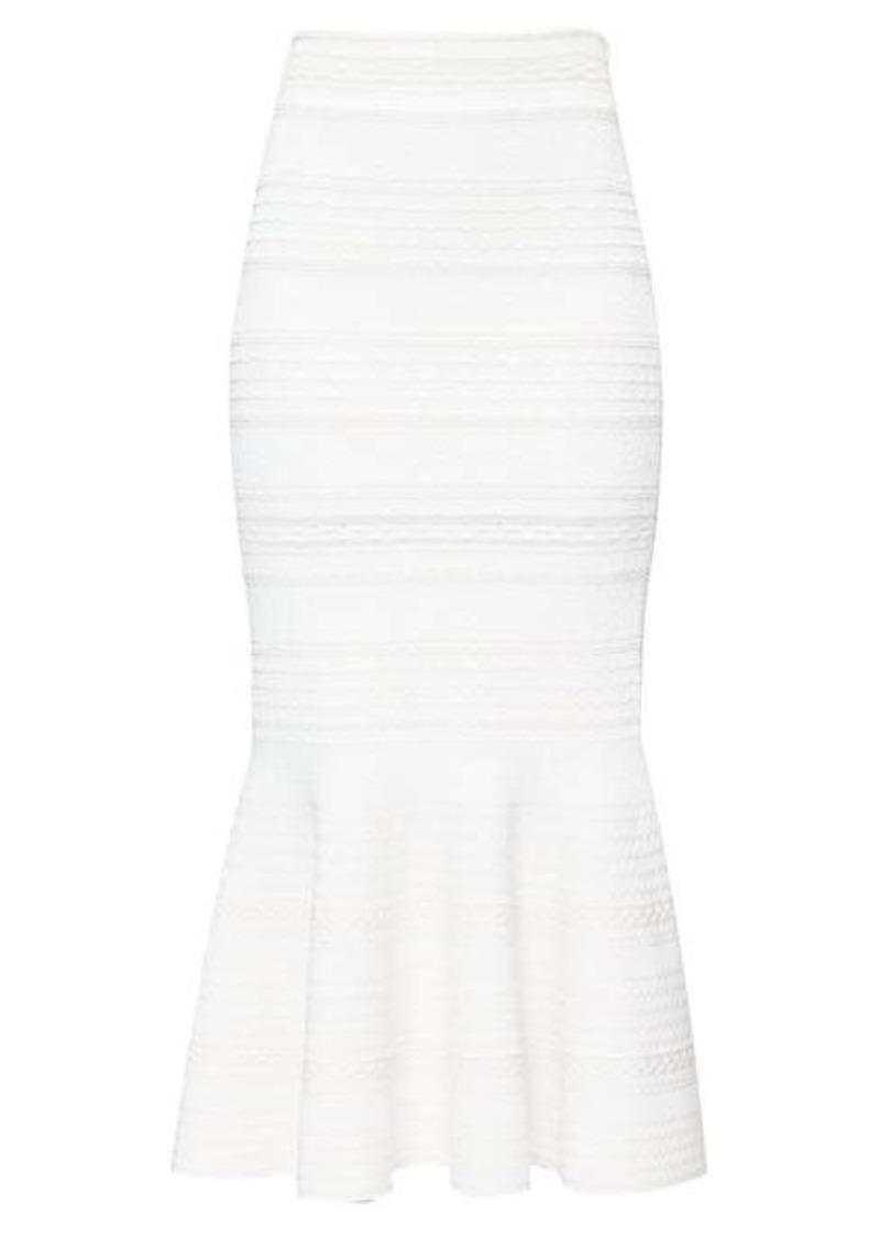 Alexander McQueen Fluted-hem jacquard-knit midi skirt