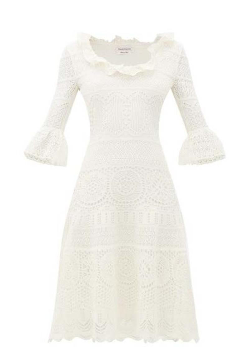 Alexander McQueen Fluted-sleeve crochet-knit midi dress