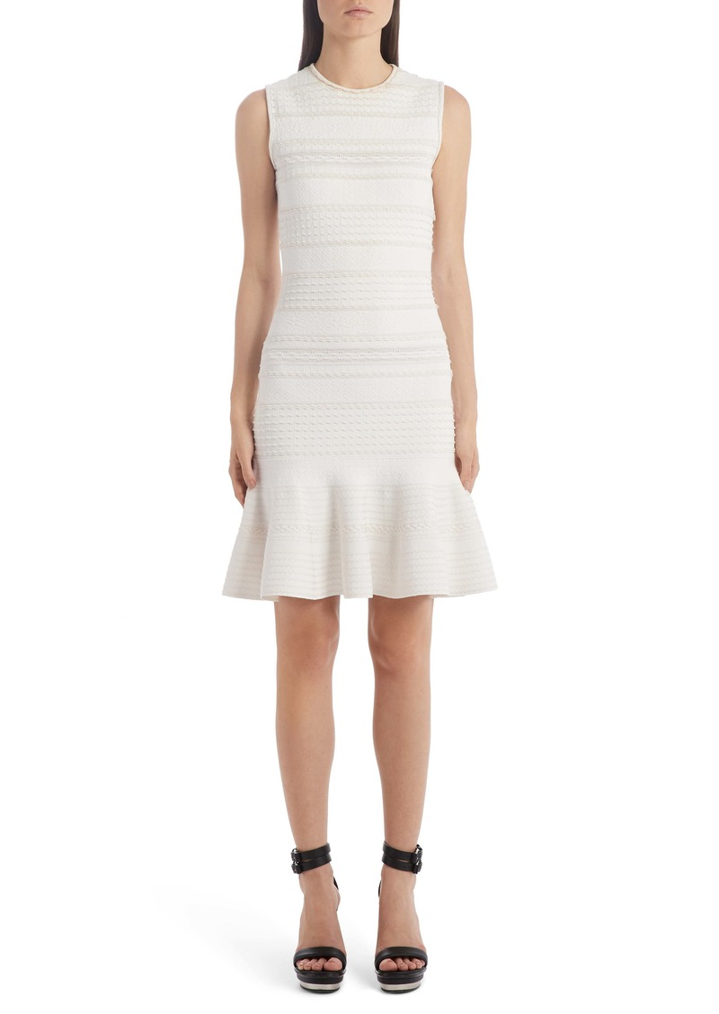 Alexander McQueen Flutter Hem Jacquard Sweater Dress