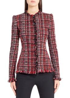Alexander McQueen Frayed Artisan Tweed Jacket