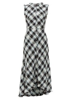 Alexander McQueen Frayed-trim bouclé-tweed dress