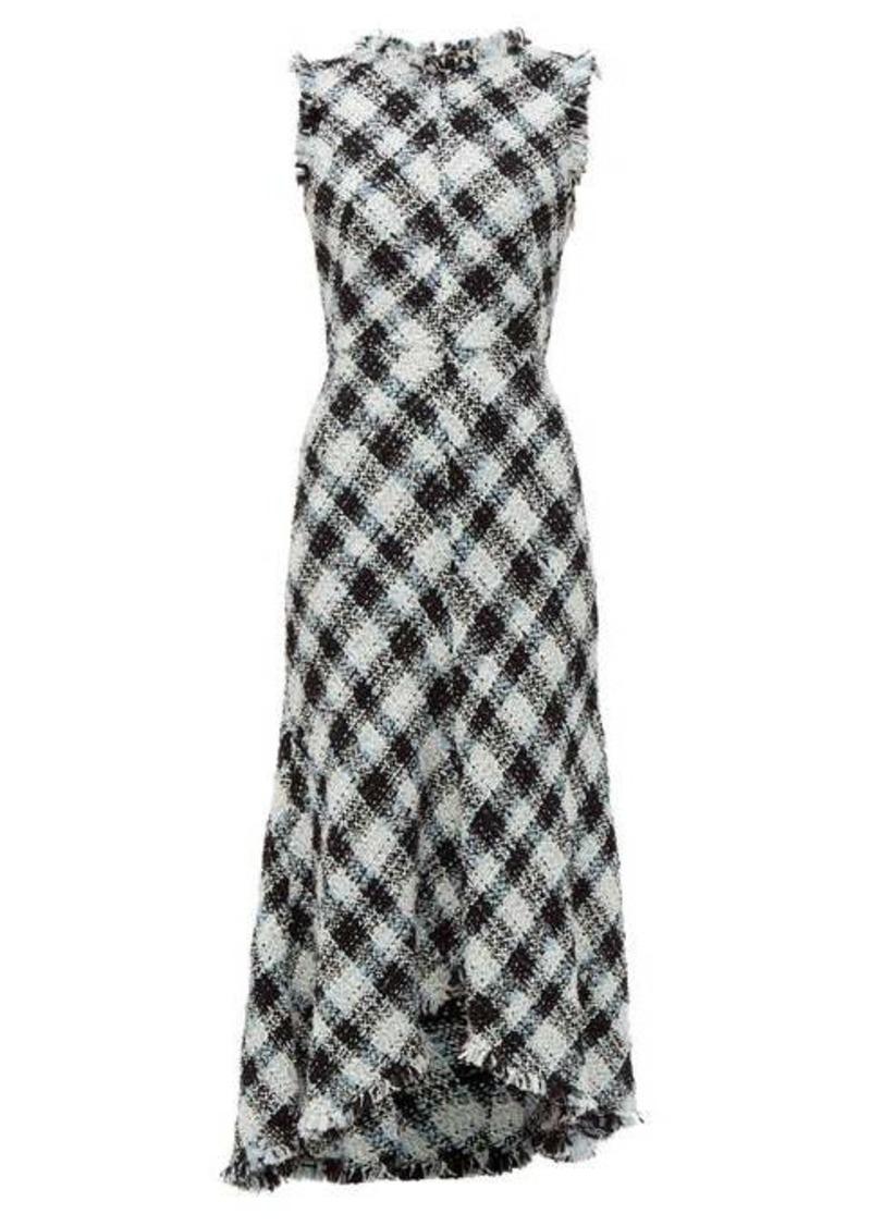 Alexander McQueen Frayed-trim bouclé-tweed dress