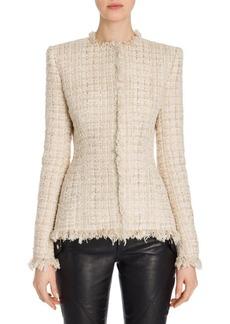 Alexander McQueen Frayed Tweed Jacket