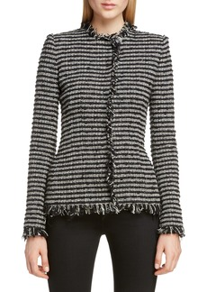 Alexander McQueen Frayed Tweed Jacket