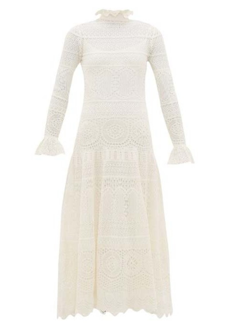 Alexander McQueen Frilled-neck crochet-lace cotton-blend dress