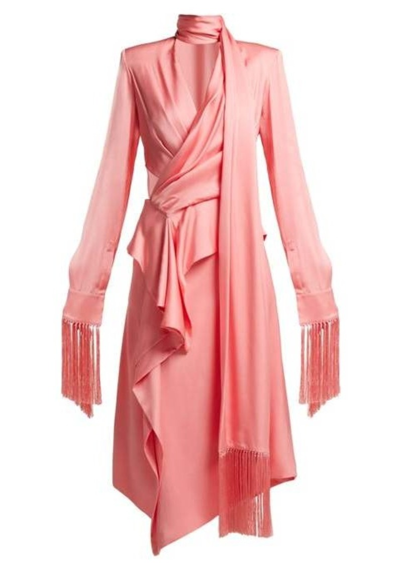 Alexander McQueen Fringe-trimmed silk-satin midi dress