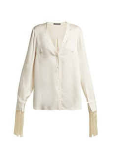 Alexander McQueen Fringed silk-satin blouse