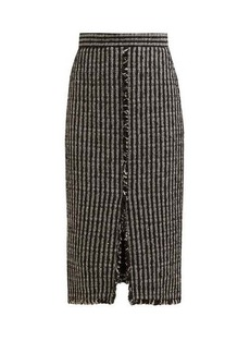 Alexander McQueen Fringed tweed pencil skirt