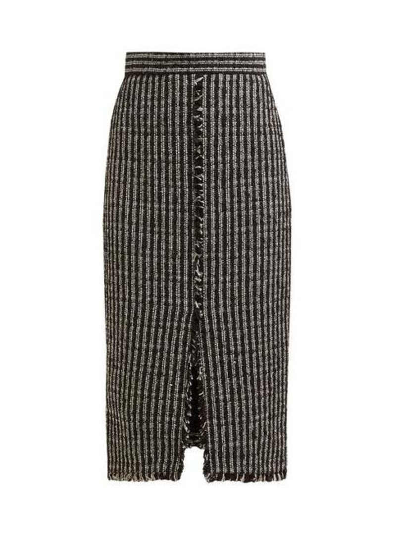 Alexander McQueen Fringed tweed pencil skirt