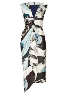 Alexander McQueen Gathered rose-print silk-crepe midi dress