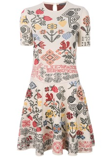 Alexander McQueen geometric floral patterned dress - Nude & Neutrals