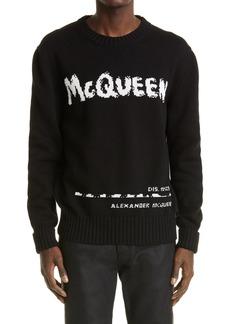 Alexander McQueen Graffiti Logo Intarsia Organic Cotton Sweater