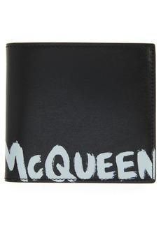 Alexander McQueen Graffiti Logo Leather Bifold Wallet