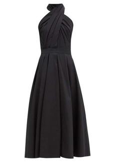 Alexander McQueen Halterneck pleated cotton-poplin midi dress