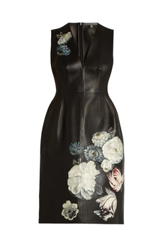 Alexander McQueen Hand-painted flowers leather dress