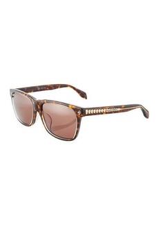 Alexander McQueen Havana Square Plastic Sunglasses