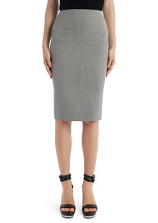 Alexander McQueen Herringbone Wool Pencil Skirt