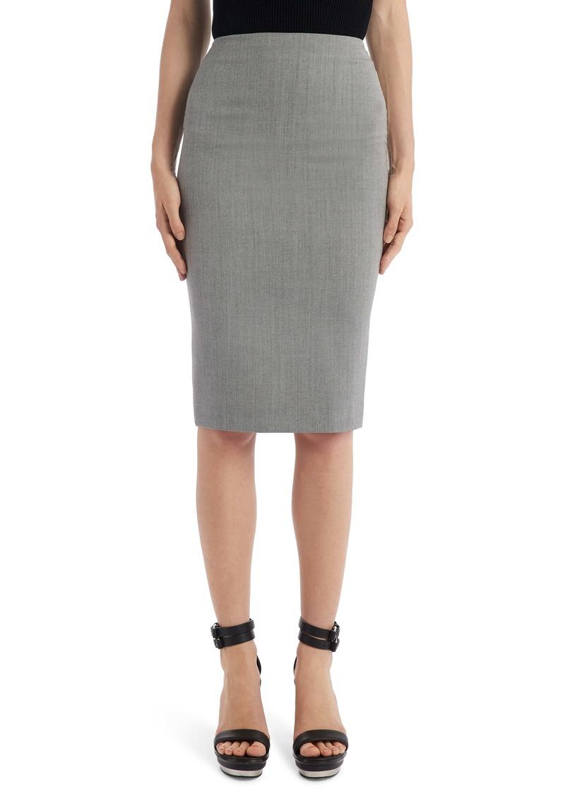 Alexander McQueen Herringbone Wool Pencil Skirt