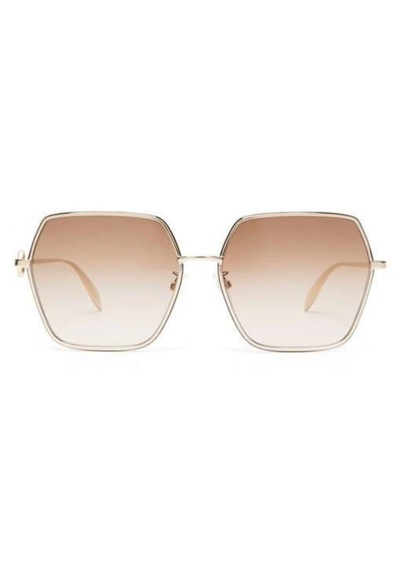 Alexander McQueen Hexagonal metal sunglasses