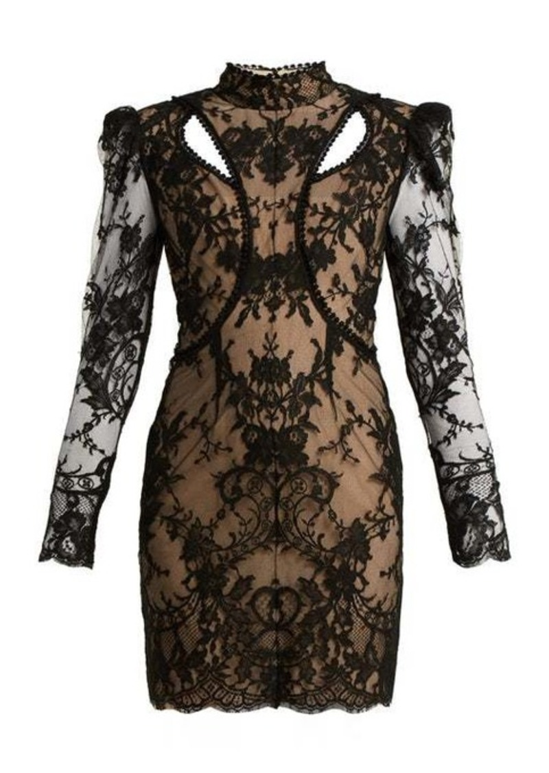 Alexander McQueen High-neck cotton-blend lace dress